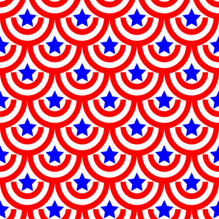 patriotic background: Semicircle and star seamless pattern. American patriotic stars and rounds image in bright red, blue and white. Template for prints, textiles, wrapping, wallpaper, website etc Stock vector illustration Illustration