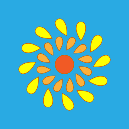 sun drop: Sign of sun. Drop concept. Plane icon isolated on blue background. Colorfull sunlight logo. Sunshine symbol. Light flat silhouette. Weather mark. Stock vector illustration
