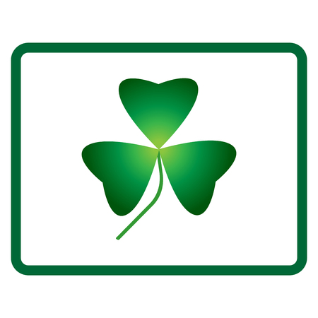 patric icon: Sign clover. 3 leaf symbol. Holiday mark. Beauty design style. Green icon isolated on white background. Colorful element in frame. St Patric concept image. Logo for celebration. Vector illustration