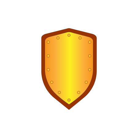 Zeichen-Schild-Gold. Schutz-Symbol auf weißem Hintergrund. Markieren Sie mit Volumeneffekt. Symbol einer Bronze Wache. Bunte Element. für Militär und Sicherheit. Vektor-Illustration