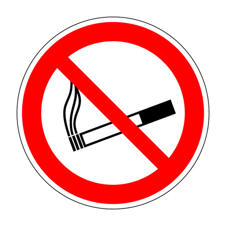 smolder: Sign no smoking. No smoke red prohibition plane icon isolated on white background. Stop cigarette label print. Forbidden tobacco image. Not allowed smoker flat symbol. Stock vector illustration Illustration