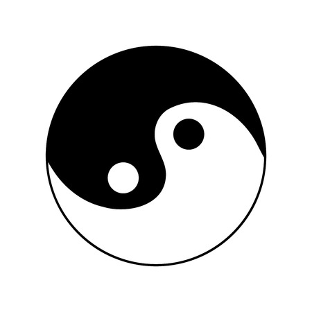 daoism: Sign yin and yang. Monochrome symbol of balance. Plane mark isolated on white background. Asian icon of harmony. Image concept of daoism. Stock vector illustration