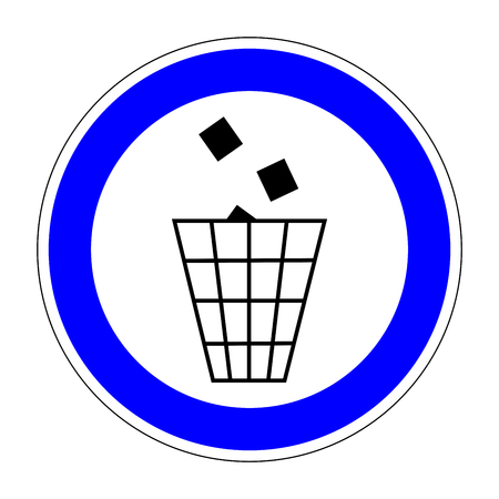 refuse: Sign place for littering. Flat symbol of garbage. Modern art scoreboard. Allowed graphic image. Plane refuse mark in blue circle on white background. Recycle figure. Stock vector illustration Illustration