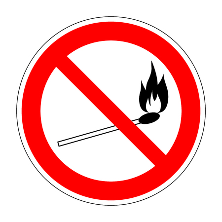 burnable: No fire match vector sign. Prohibition safety match symbol. Red icon on white background. No lucifer match sign. Stop fire. Stop symbol. Dont fire icon. Dangerous fire. Stock vector illustration Illustration