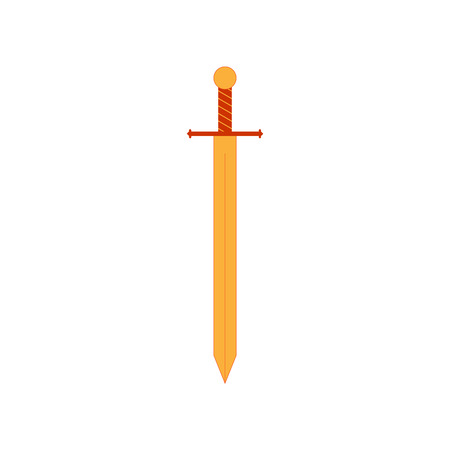 longsword: Sign sword gold. Weapon icon isolated on white background. Flat mark. Symbol of a bronze longsword. Colorful element.
