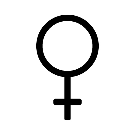 romantic sex: Gender sign mirror of Venus. Female monochrome symbol isolated on white background. Abstract plane mark with women sex icon. Goddess concept. Romantic silhouette. Stock VECTOR illustration