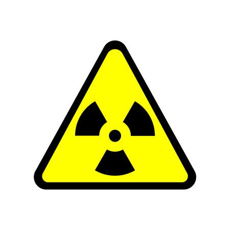 radiactividad: Firmar t�xico. Peligro de la zona radiactiva en icono del tri�ngulo aislada en el fondo blanco. imagen en color radiactividad. Peligroso s�mbolo de �rea de radiaci�n. Qu�mica marca del plano veneno. Ilustraci�n vectorial material
