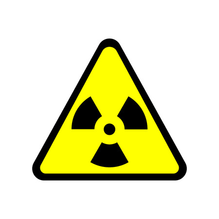radioactivity: Sign toxic. Warning radioactive zone in triangle icon isolated on white background. Color radioactivity image. Dangerous radiation area symbol. Chemistry poison plane mark. Stock vector illustration Illustration