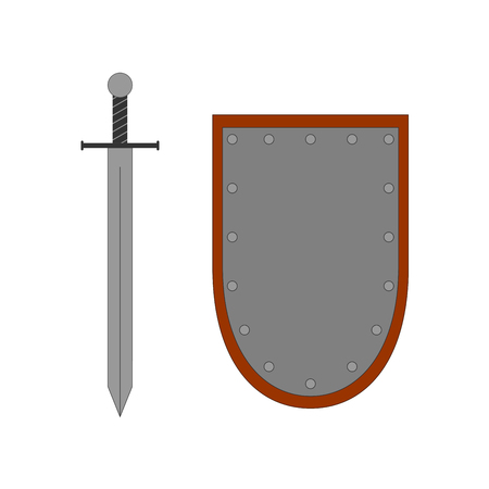 longsword: Set of sign shield and sword silver. Combat icon isolated on white background. Color flat mark. Symbol of a steel elements.