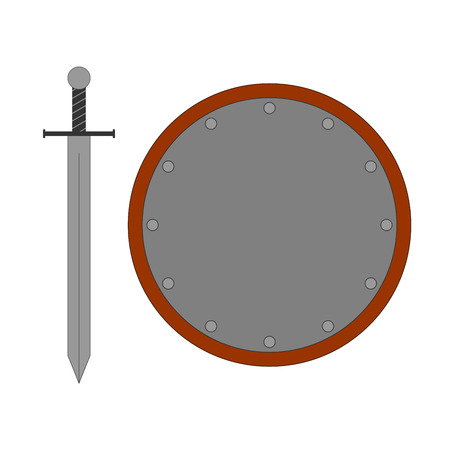longsword: Set of sign round shield and sword silver. Combat color icon isolated on white background. Illustration