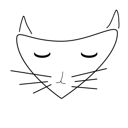 pussycat: Sign face of cat. Pussycat mask monochrome icon isolated on white background. Abstract plane mark with kitten snout artwork.