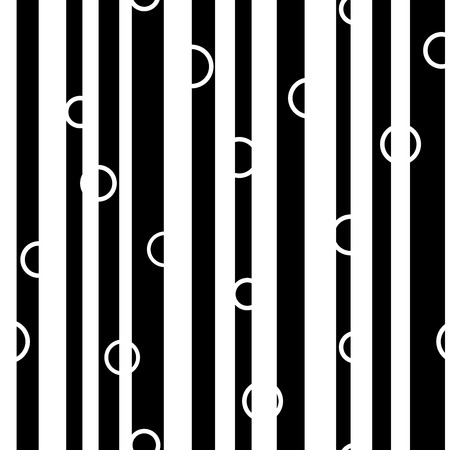 unevenly: Line and circle chaotic seamless pattern. Fashion graphic background design. Modern stylish abstract monochrome texture. Template for prints, textiles, wrapping, wallpaper, website
