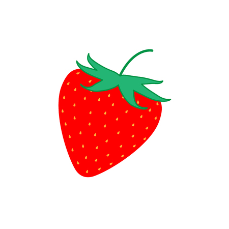 freshness: Sign flat strawberry. Fruit icon isolated on white background. Color organic food symbol. Healthy concept. Trendy eco vegetarian plane mark. Red freshness berry . Illustration