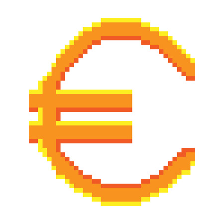 8bit: Sign pixel euro gold. Colorful icon isolated on white background. Pixelated design. icon for business. Europe finance symbol made of pixels. Mark of commerce. Stock vector illustration