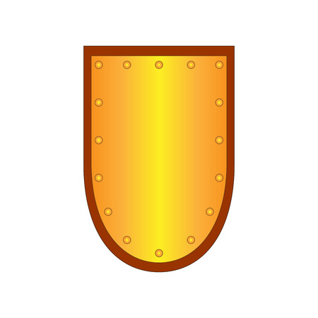 sure: Sign shield gold. Protection icon isolated on white background. Mark with volume effect. Symbol of a bronze guard. Colorful element. Icon for military and security. Stock vector illustration Illustration