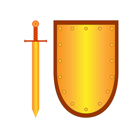 longsword: Set of sign shield and sword gold. Combat icon isolated on white background. Mark with volume effect. Symbol of a bronze elements. Logo for military and security. Stock vector illustration Illustration