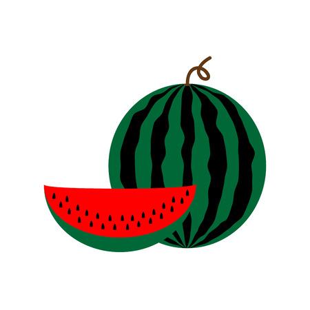 freshness: Sign flat watermelon. Colorful berry icon isolated on white background. Tasty organic food symbol. Healthy concept. Trendy eco vegetarian plane mark. Freshness fruit logo. Stock vector illustration
