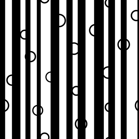 unevenly: Line and circle chaotic seamless pattern. Fashion graphic background design. Modern stylish abstract monochrome texture. Template for prints, textiles, wrapping, wallpaper, website VECTOR illustration Illustration