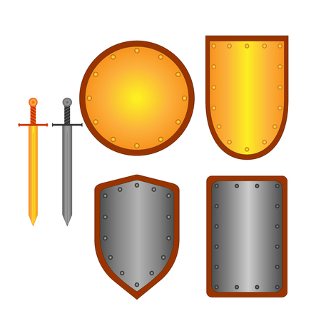longsword: Set of signs shield, sword. Combat icon isolated on white background. Silver, gold images. Mark with volume effect. Symbol of a metal elements. Logo for military, security. Stock vector ilustration