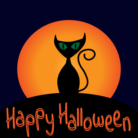 Cat sign with text Happy Halloween. Image of black kitty with green eyes on full moon background. Symbol of superstition.  for party or greeting. Mysterious animal. Mark of All hallows day.VECTOR Illustration