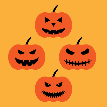 hallows: Set of halloween pumpkins sign. Image of jack-o-lantern. Color icon isolated on orange background. Symbol of autumn holiday.   for party. Emotion face on vegetable. Mark of All hallows day.