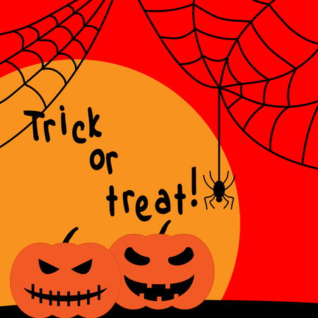 hallows: Halloween spider, pumpkin sign with sun. Text Trick or Treat. Image of black insect with web and lantern. Fear icon on sunset background.  for party or greeting. Mark of All hallows day. VECTOR Illustration