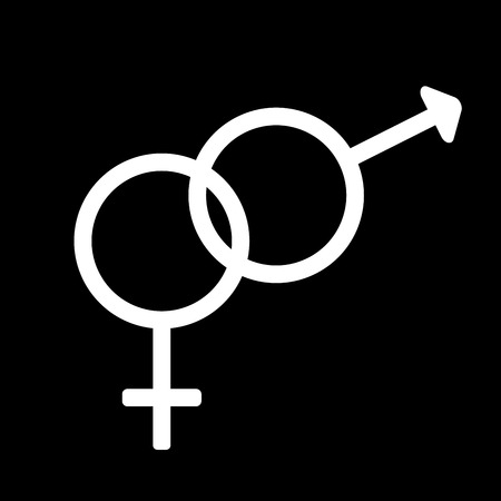 romantic sex: Gender sign. Male and female monochrome symbols isolated on black background. Abstract plane mark with men and women sex icons. Heterosexual concept. Two romantic silhouette. Stock VECTOR illustration Illustration