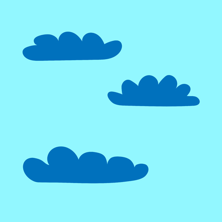 overcast: Clouds set sign. Plane icons isolated on blue background. Color weather logo. Cloudscape symbol. Light flat silhouette. Weather mark. Stock vector illustration Illustration