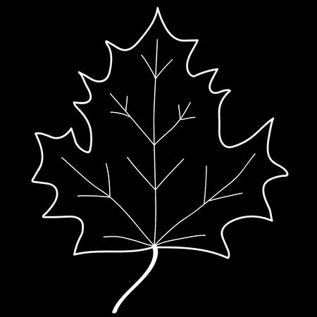Maple leaf sign. Monochrome plane icon isolated on black background. Mono nature logo. Botany wood or garden symbol. Ecology flat silhouette. Foliage mark. Stock vector illustration Illustration