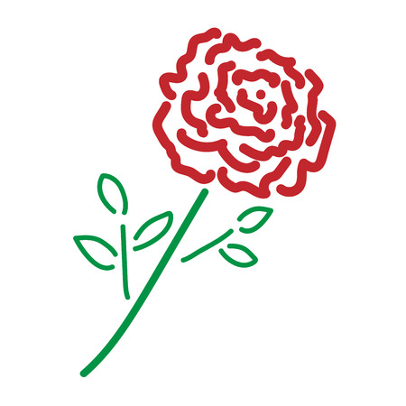 Single rose sign. Image of floral. Color icon isolated on white background. Bloom flower symbol. Logo for romantic. Florist content. Mark of blossom. Stock vector illustration