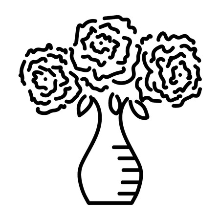 rose tattoo: Three roses in vase sign. Image of floral. Monochrome icon isolated on white background. Bloom flower symbol. Logo for romantic. Florist content. Mark of blossom. Stock vector illustration
