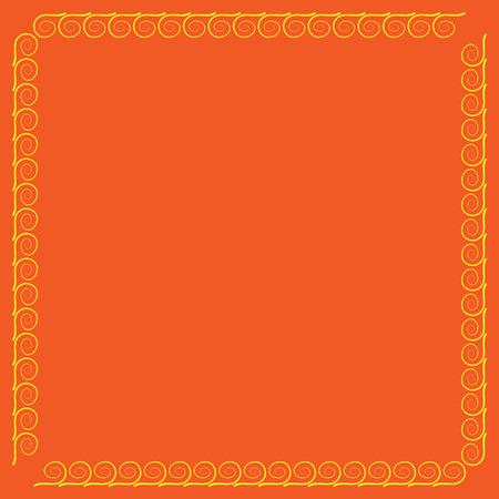 rim: Frame yellow. Decoration concept. Border from waves. Colorful framework isolated on orange background. Modern art scoreboard. Decoration banner rim. Stock vector illustration