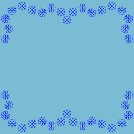 Frame with snowflake border. Decoration winter banner rim. Decoration new year concept. Cold framework isolated on blue background. Modern art scoreboard. Border from snowflake. Stock vector illustration Illustration