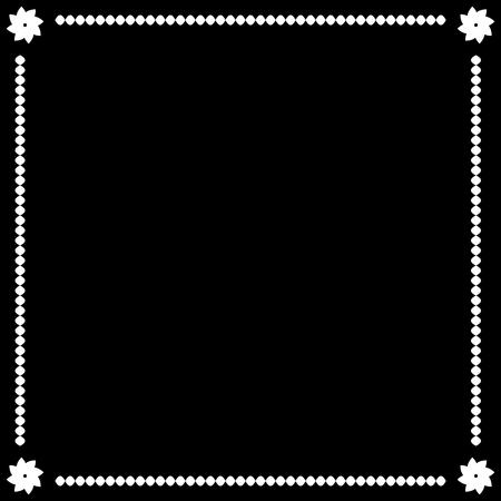 Frame white. Border from ovals and flowers. Decoration banner rim. Monochrome framework isolated on black background. Decoration concept. Modern art scoreboard. Stock vector illustration