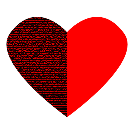 Red Heart With Lines On Black Half Sign Beautiful Icon Isolated