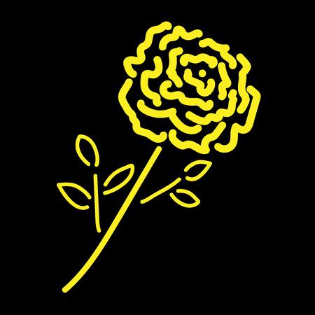 Single gold rose sign. ion Illustration