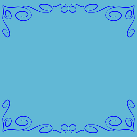 Frame blue. Decoration banner rim. Colorful framework isolated on light blue background. Modern art scoreboard. Border from curls and curves. Decoration concept. Stock vector illustration