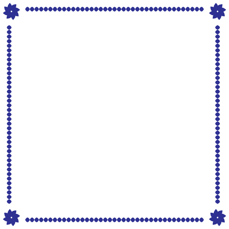 Frame blue. Border from ovals and flowers. Decoration banner rim. Colorful framework isolated on white background. Decoration concept. Modern art scoreboard. Stock vector illustration