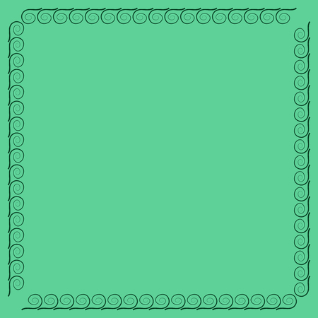 Frame green. Decoration concept. Border from waves. Color framework isolated on white background. Modern art scoreboard. Decoration banner rim. Stock vector illustration Ilustração
