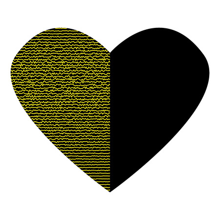 Black Heart With Gold Lines On Half Sign Beautiful Icon Isolated