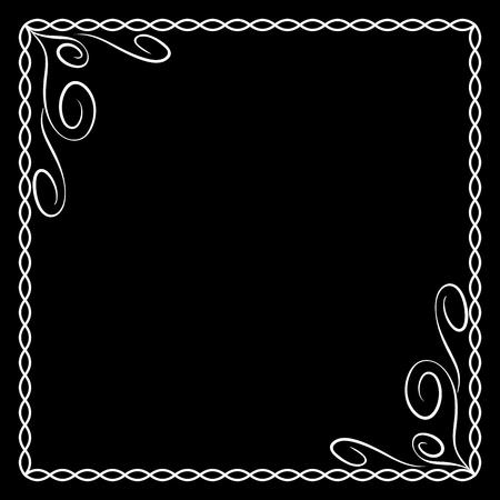 Frame white. Monochrome framework isolated on black background. Decoration chain concept. Modern art scoreboard. Border from ovals and curves. Decoration banner rim. Stock vector illustration