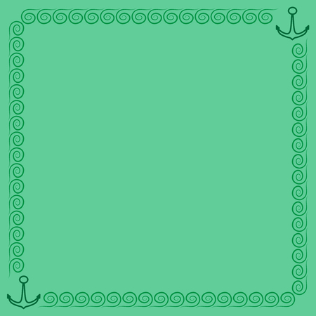 Frame green. Border from waves and anchors. Decoration sea concept. Color framework isolated on light green background. 向量圖像