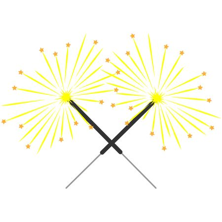 Double sparkler sign with stars. Ilustrace