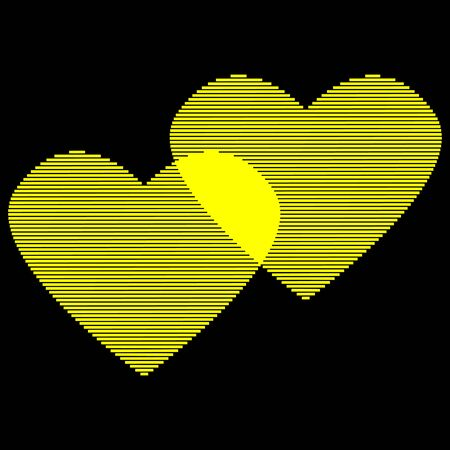 Two hearts of gold lines sign.