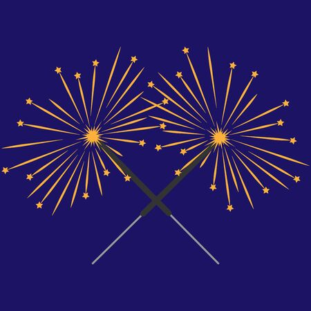 Double sparkler sign with stars. Celebration symbol. Image of bengal light. Mark of spark for party. Beautiful colorful icon isolated on blue background. Logo for holiday, celebration. Stock vector Ilustrace