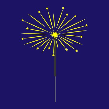 Sparkler sign with stars. Celebration symbol. Image of bengal light. Mark of spark for entertainment. Logo for holiday, celebration. Beautiful color icon isolated on blue background. Stock vector