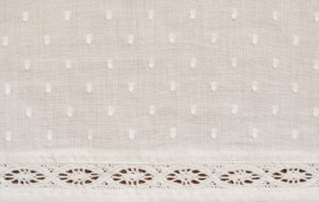 Background of spotted fabric with a strip of lace photo