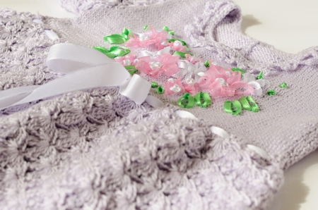 Lilac Crochet Baby Dress Embellished Ribbon Embroidery Stock Photo