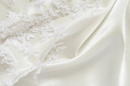 White wedding satiin and embroidered lace
