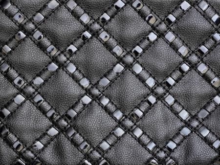 rayures diagonales: Texture de cuir noir avec des rayures diagonales
